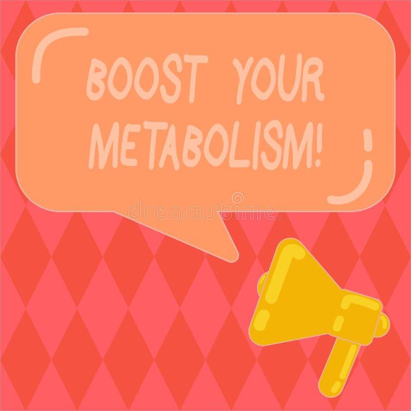 Das Handschriftstextschreiben laden Ihren Metabolismus auf Konzeptbedeutung, die den Zusammenbruch des Nahrungsmittelkalorienaufn stock abbildung