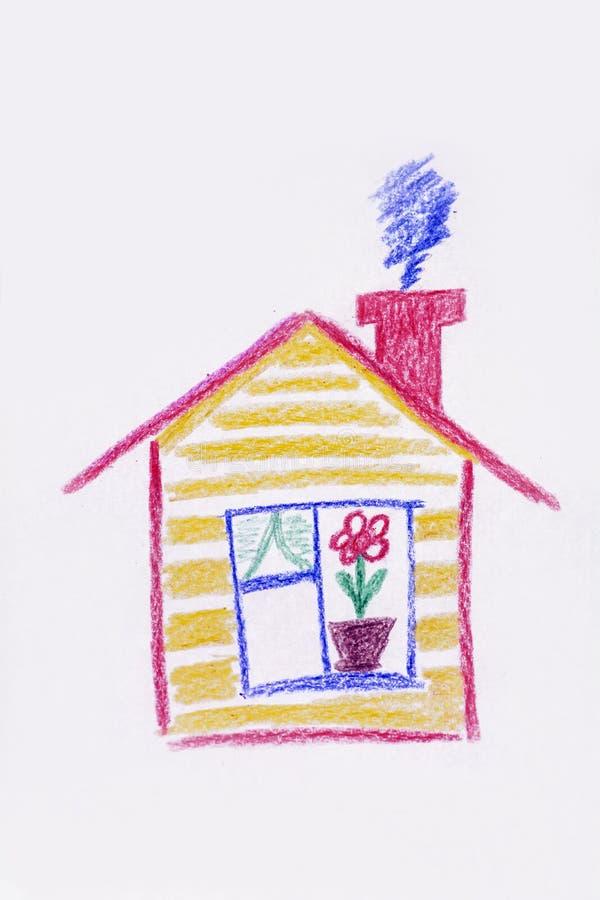 das haus der gelb gemalte kinder kindliche zeichnung des hauses stock abbildung illustration. Black Bedroom Furniture Sets. Home Design Ideas
