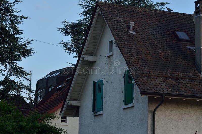 Das Haus mit grünen Fenstern stockfoto