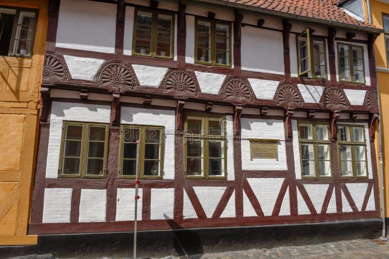 Das Haus von Verfasser H C Andersen in Odense auf Dänemark lizenzfreies stockbild