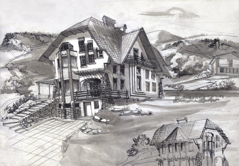 Das Haus wurde in den Bergen gebaut stock abbildung