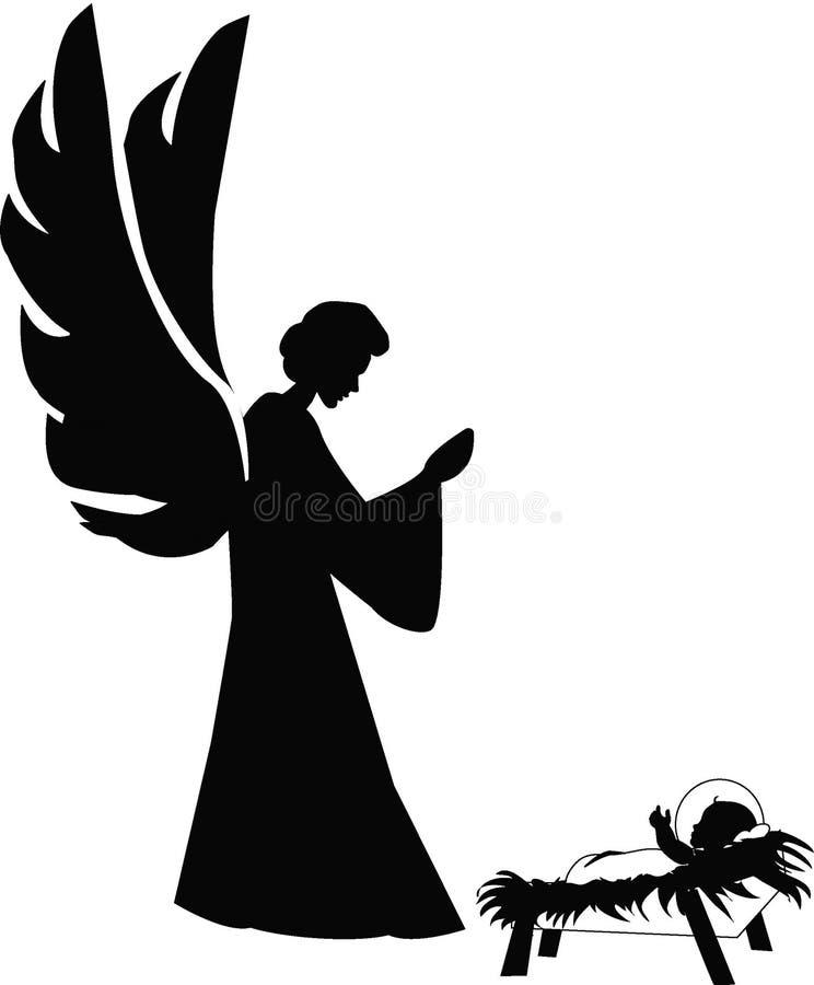 Das heilige Kind und ein Engel lizenzfreie abbildung