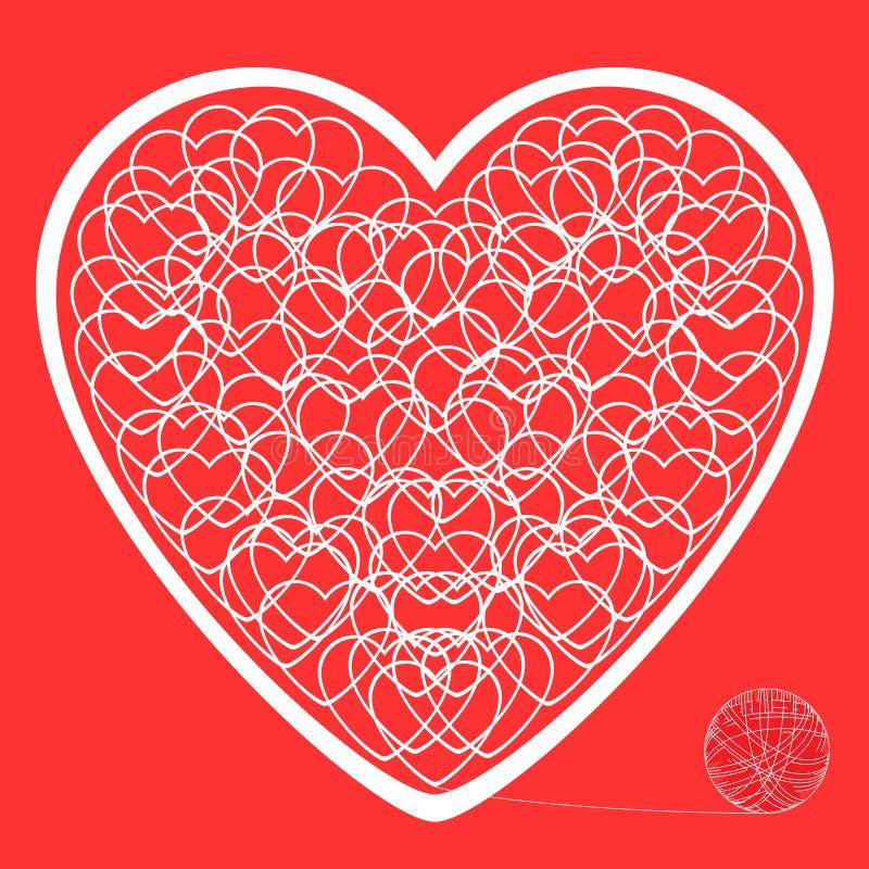 Das Herz der verwirrten Threads auf einem roten Hintergrund stockfoto