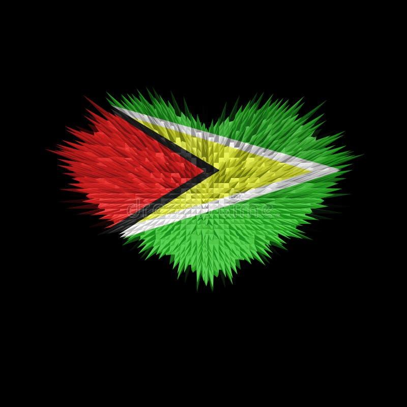 Das Herz von Guyana-Flagge lizenzfreie abbildung