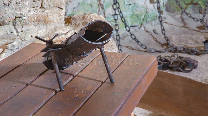 Das highboot für Folterung vom Kerker des Spissky-astle stockbild