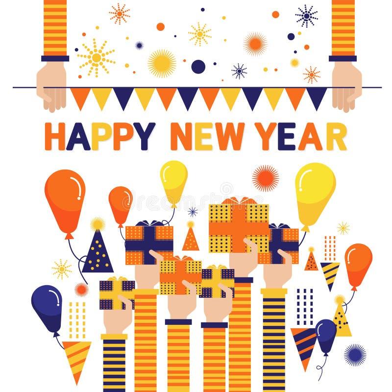 Das imagens engraçadas ajustadas do ano novo feliz do vetor balões coloridos mais de im ilustração do vetor
