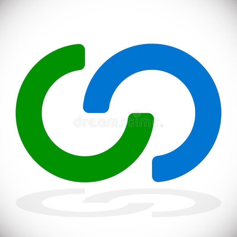Das Ineinander greifen von den Kreisen, ineinander greifend schellt als abstrakte Verbindung, vektor abbildung