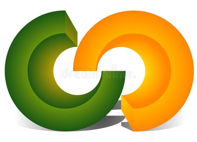 Das Ineinander greifen von den Kreisen, ineinander greifend schellt als abstrakte Verbindung, stock abbildung