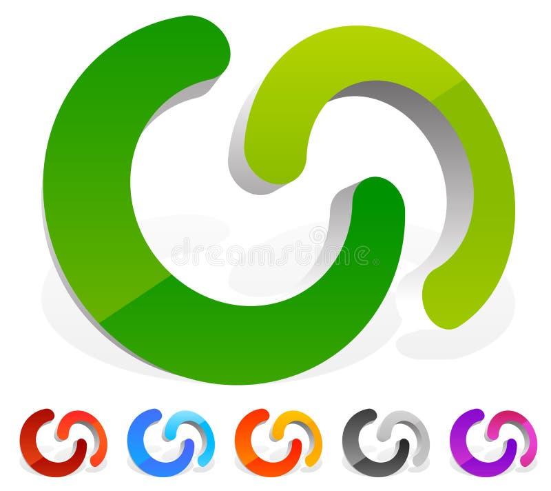 Das Ineinander greifen von den Kreisen, ineinander greifend schellt als abstrakte Verbindung, lizenzfreie abbildung