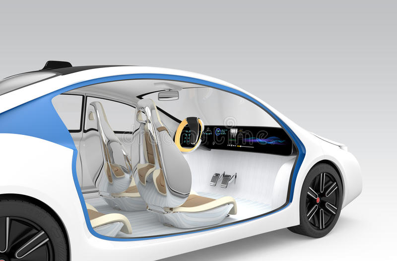 Das Innenkonzept des autonomen Autos Das Autoangebotfaltende Lenkrad, drehbarer Beifahrersitz stock abbildung