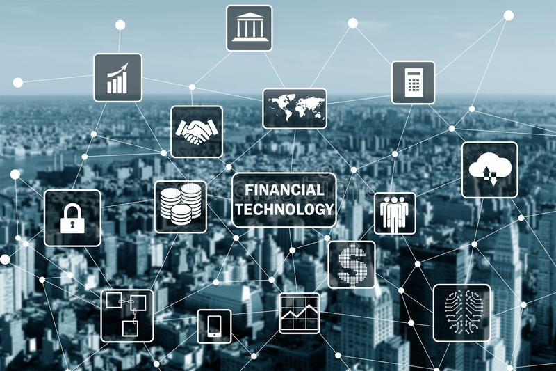 Das intelligente Stadtkonzept mit fintech Finanztechnologiekonzept stockfotografie