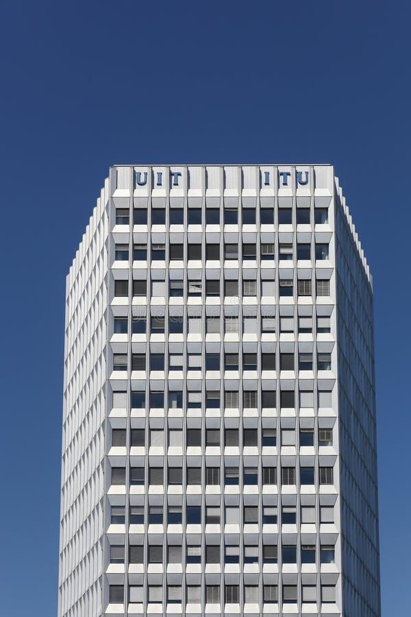 Das internationale Fernmeldeunionsgebäude in Genf, die Schweiz lizenzfreie stockfotos