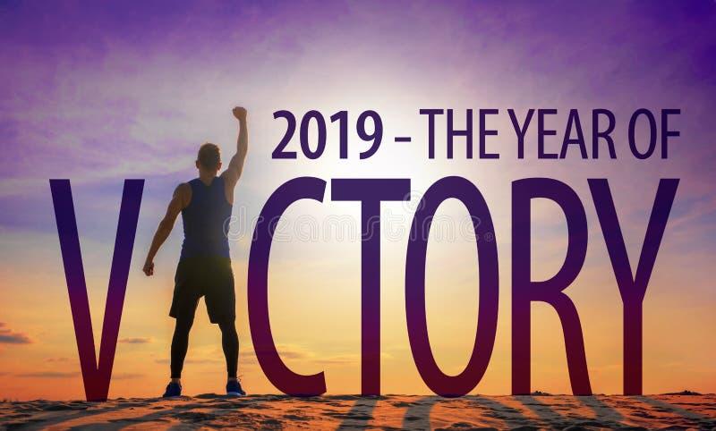 2019 - Das Jahr des Sieges stockfotos