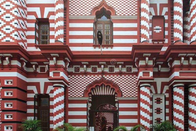 Das Jamiul Alfar Masjid oder allgemein bekannt als die rote Moschee in Pettah - Colombo stockbilder