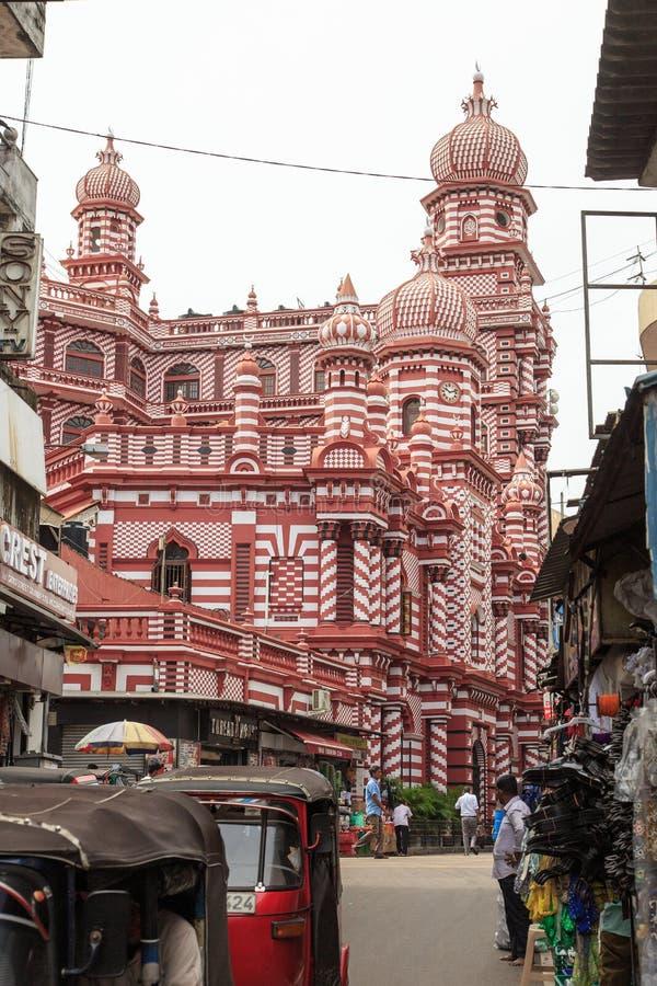 Das Jamiul Alfar Masjid oder allgemein bekannt als die rote Moschee in Pettah - Colombo stockfoto