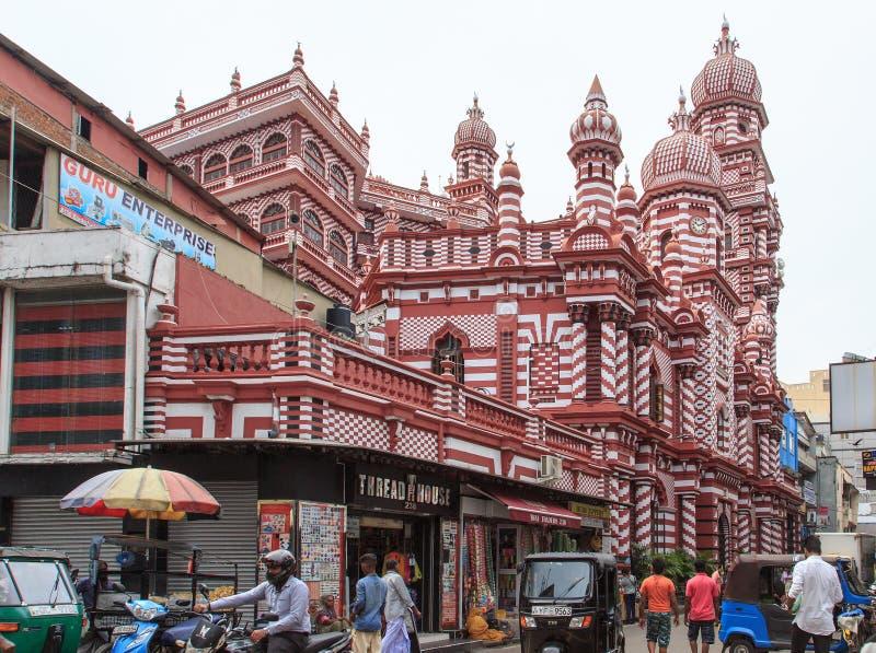 Das Jamiul Alfar Masjid oder allgemein bekannt als die rote Moschee in Pettah - Colombo stockfotografie