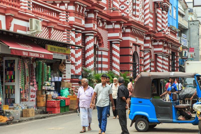 Das Jamiul Alfar Masjid oder allgemein bekannt als die rote Moschee in Pettah - Colombo lizenzfreies stockfoto