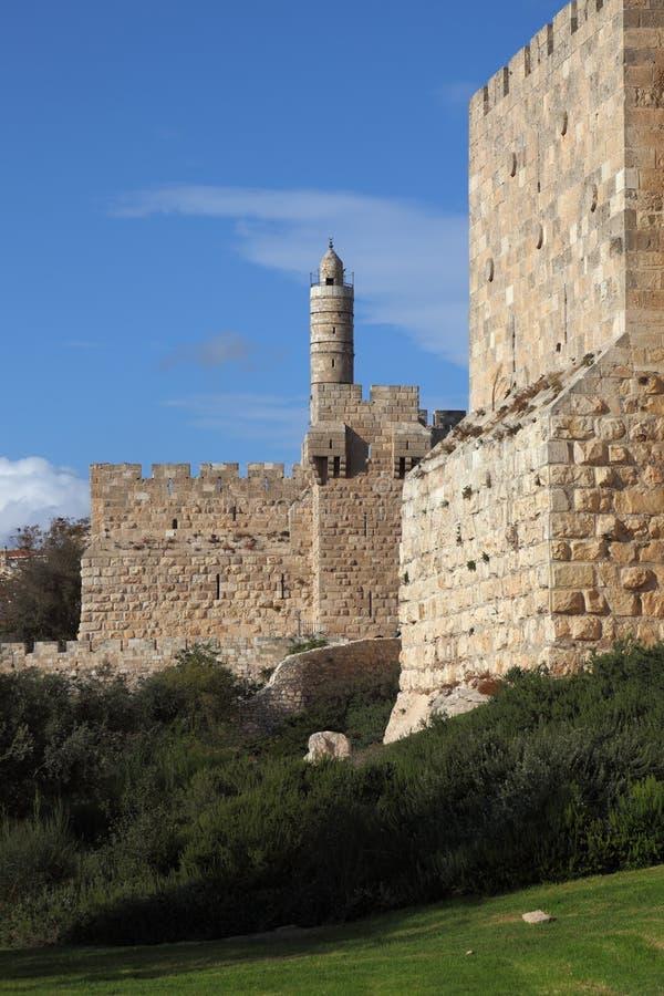 Das Jerusalem und der Kontrollturm von David stockbilder