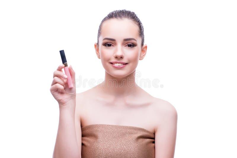 Das junge schöne weibliche Mode-Modell mit bilden stockfoto