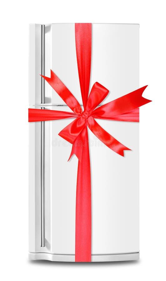 Das Kühlschrankkühlschrankgeschenk band roten Bogen auf einem weißen Hintergrund Getrennt lizenzfreies stockbild