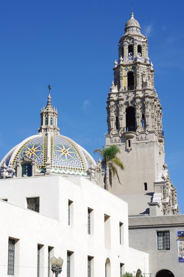 Das Kalifornien-Gebäude und -turm im Balboa-Park, San Diego lizenzfreie stockfotografie