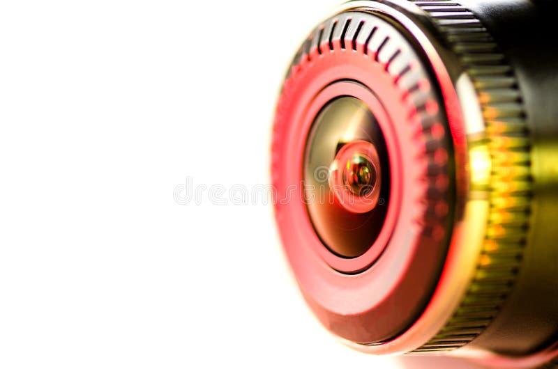 Das Kameraobjektiv mit farbigem Licht lizenzfreies stockbild
