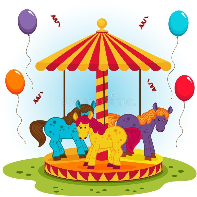 Das Karussell der Kinder mit Pferden stock abbildung