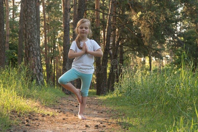 Das Kind übt Yoga im Wald lizenzfreie stockfotografie