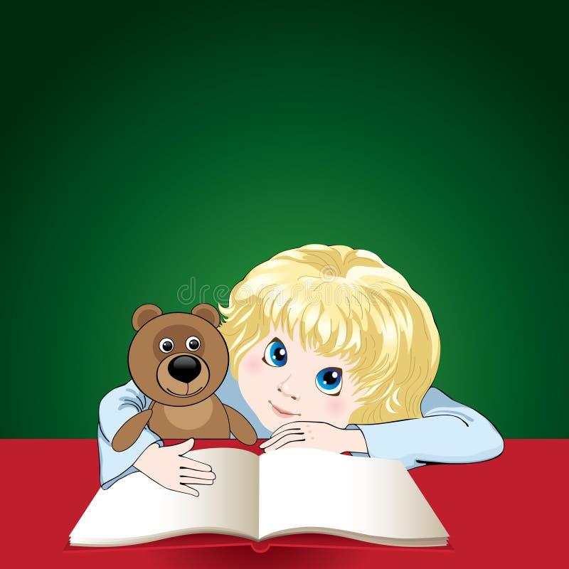 Das Kind liest ein Buch vektor abbildung