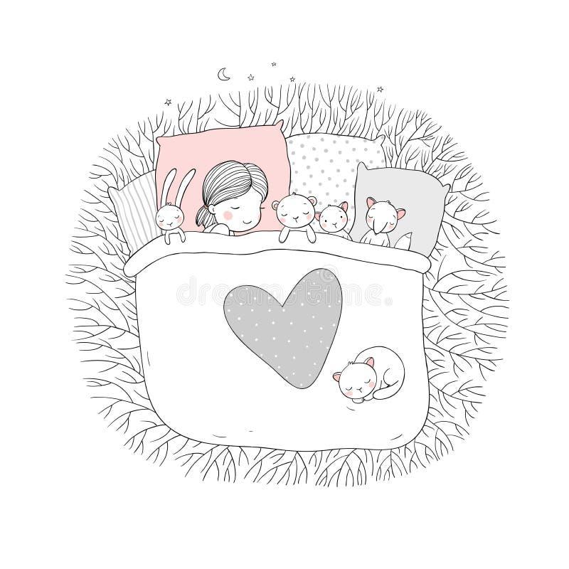 Das Kind schläft mit ihren Spielwaren lizenzfreie abbildung