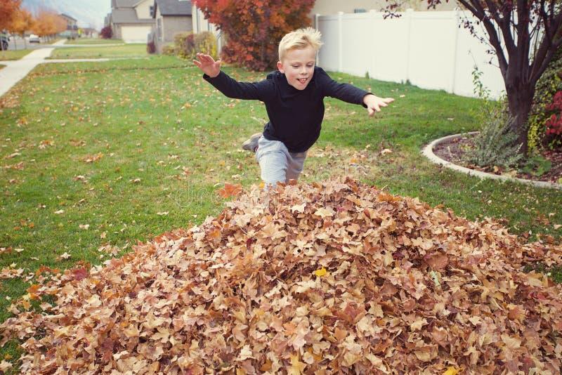 Das Kind springend in einen großen Stapel von Blättern lizenzfreie stockfotos
