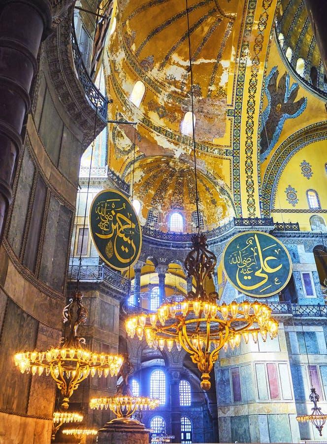 Das Kirchenschiff der Moschee Hagia Sophia Istanbul, die Türkei stockfotografie