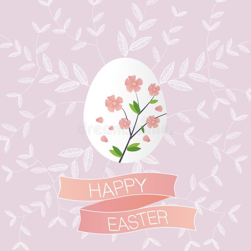 Das Kirschblüte Osterei mit der glücklichen Ostern-Fahne stock abbildung