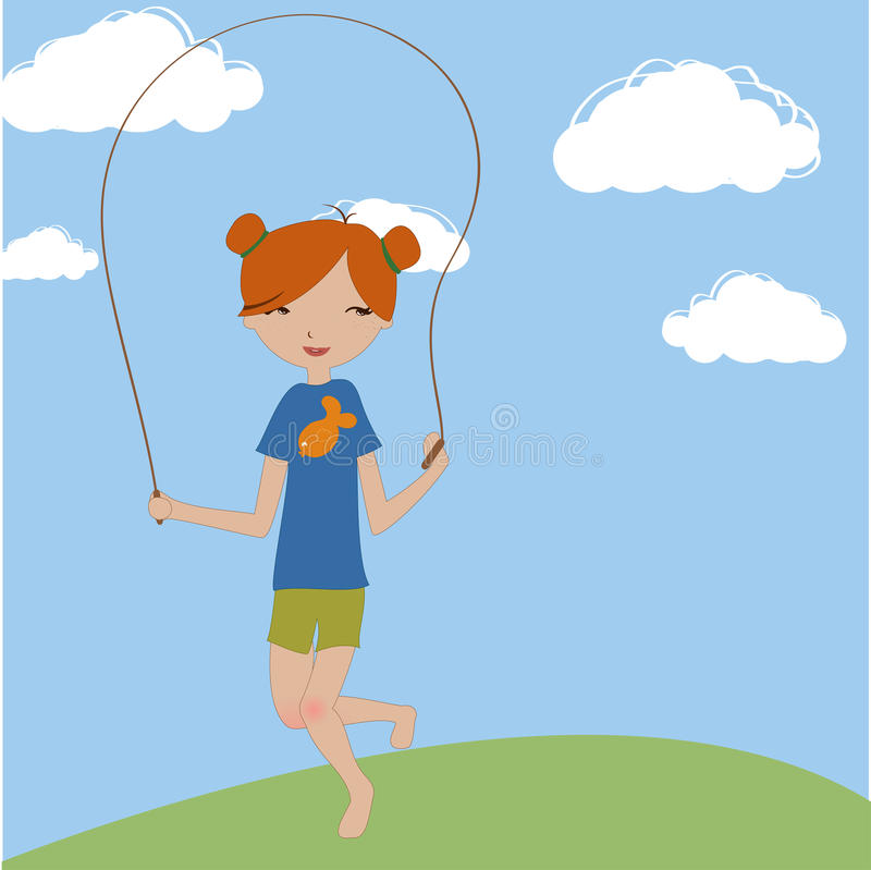 Das kleine Mädchen, das mit dem überspringenden Seil springt stock abbildung