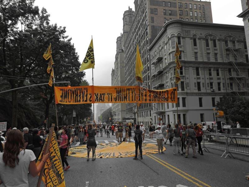 Das Klima März New York City 2014 der Leute stockbild