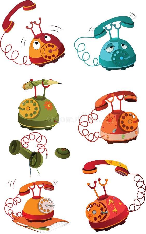 Das komplette Set der Telefone stock abbildung