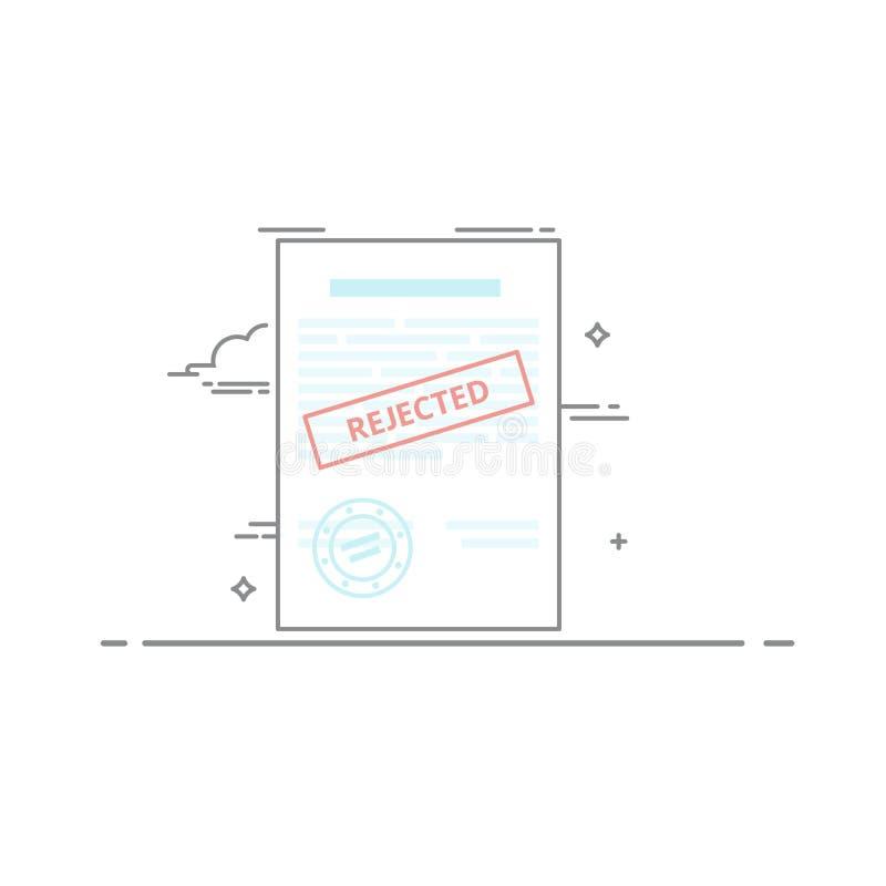 Das Konzept der Ablehnung des Dokuments gemacht in einem linearen Artdunkelheitsentwurf Roter Stempel stock abbildung