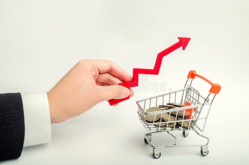 Das Konzept der Anziehung von Investitionen, das durchschnittliche erhöhend überprüfen herein den Speicher Die Geschäftsmann ` s  stockfoto