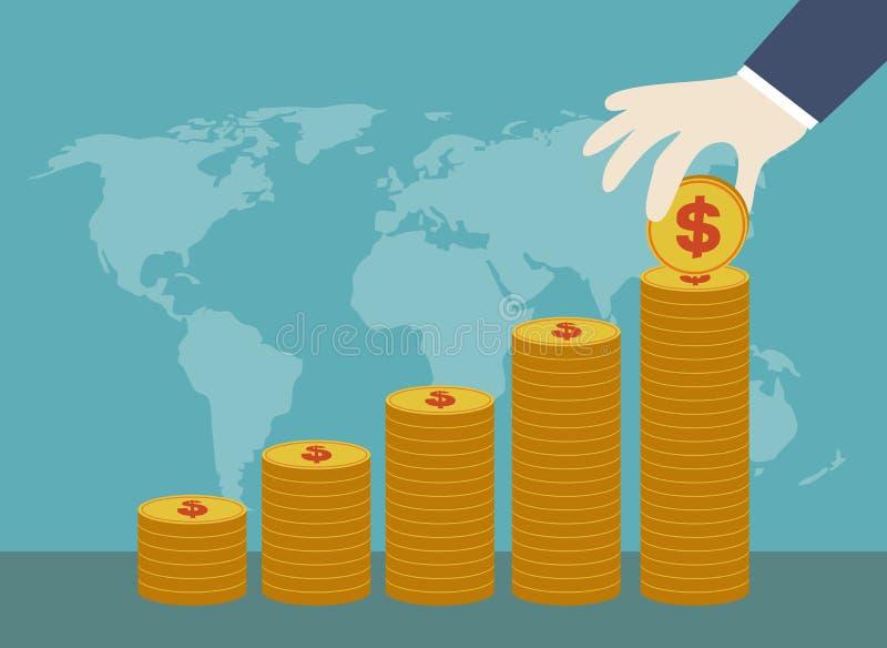 Das Konzept der Einsparung und der Investition lizenzfreie abbildung