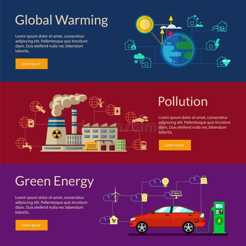 Das Konzept der grünen Energie, globale Erwärmung, Verschmutzung lizenzfreie abbildung