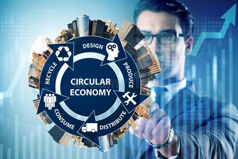 Das Konzept der Kreislaufwirtschaft mit Geschäftsmann lizenzfreies stockbild