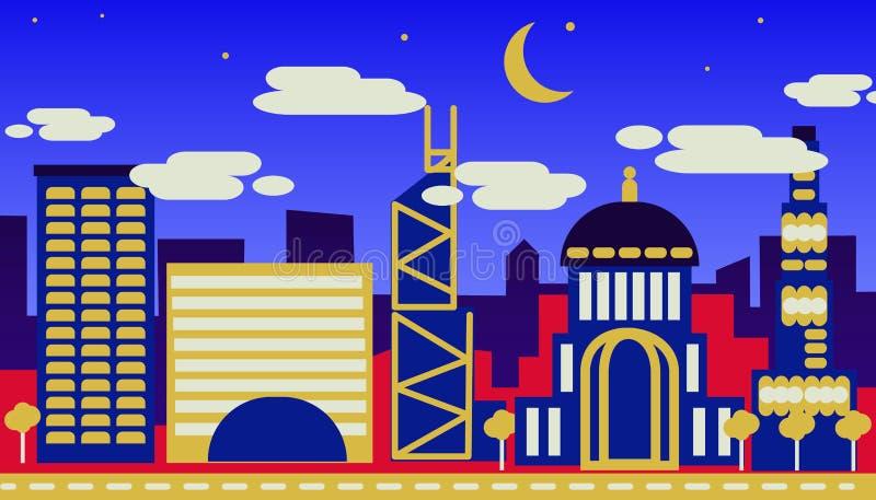 Das Konzept der Nachtansicht einer modernen Stadt vektor abbildung