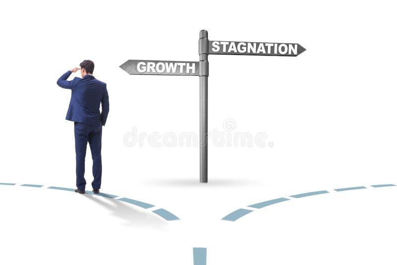 Das Konzept der Wahl zwischen Wachstum und Stagnation lizenzfreie abbildung