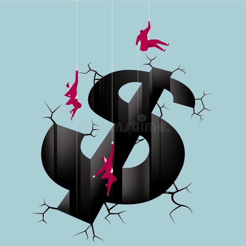 Das Konzept des Finanzkrisedesigns lizenzfreie abbildung