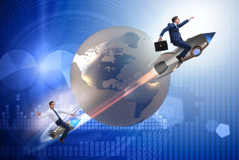 Das Konzept des globalen Wettbewerbs mit dem Jagen von Geschäftsmännern vektor abbildung