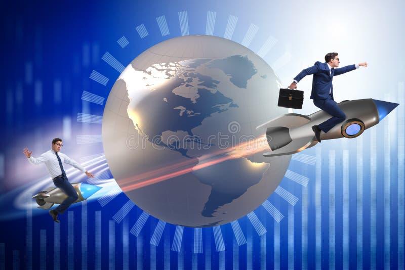Das Konzept des globalen Wettbewerbs mit dem Jagen von Geschäftsmännern stock abbildung