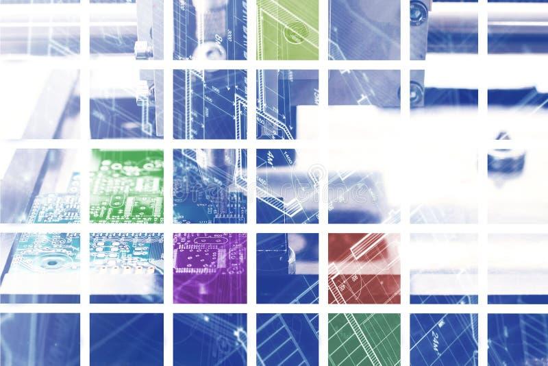 Das Konzept des Hightechhintergrundes der Quadrate oder der Puzzlespiele oder der geteilten Stücke von buntem Technologie des Ges lizenzfreies stockfoto