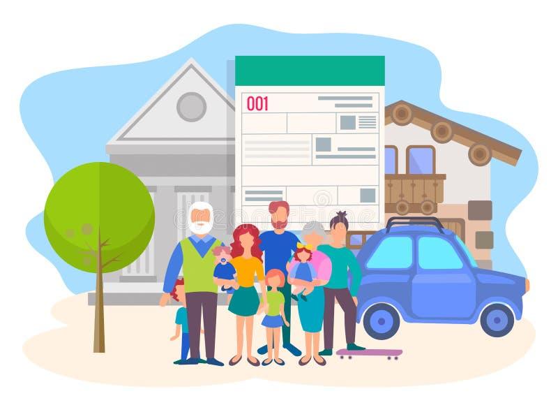 Das Konzept des Kaufens von Immobilien und von Autos auf Kredit stock abbildung