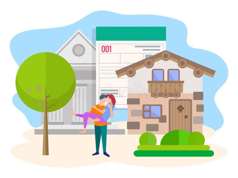 Das Konzept des Kaufs von Immobilien mithilfe einer Bank stock abbildung