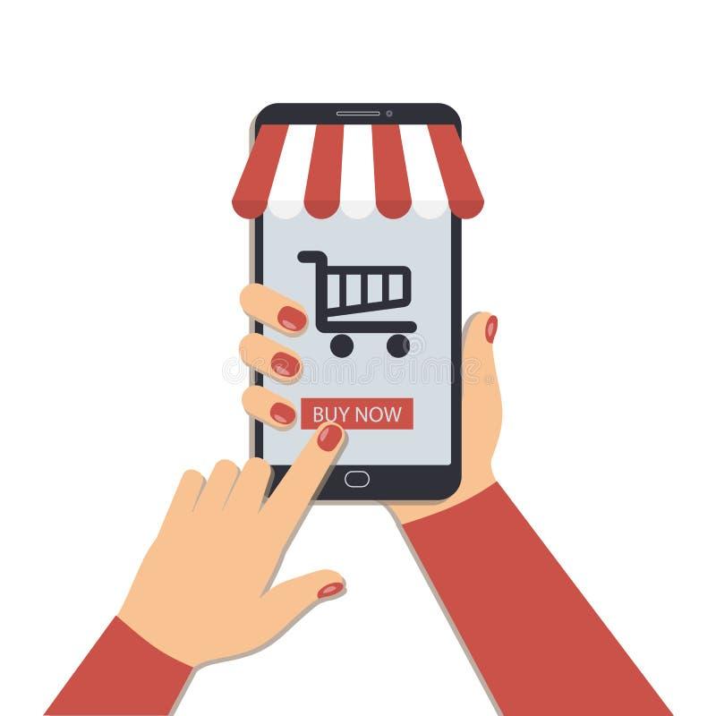 Das Konzept des on-line-Einkaufens unter Verwendung eines Handys lizenzfreie abbildung